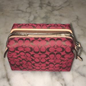 Coach Rare Red Signature Frame Top Pouch Case NNT